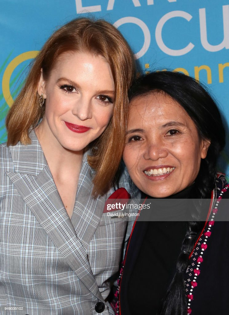 Actress Ashley Bell (L) and Save Elephant Foundation founder Sangdeaun Lek Chailert attend the opening night of KCET & Link TV's EARTH FOCUS Environmental Film Festival screening of 'Love & Bananas - An Elephant Story' at Sony Pictures Studios on April 20, 2018 in Culver City, California.