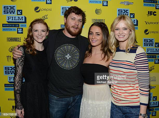 Actress Ashley Bell Director Bryan Poyser actress Addison Timlin and actress Sara Paxton attend the photo op for The Bounceback during the 2013 SXSW...