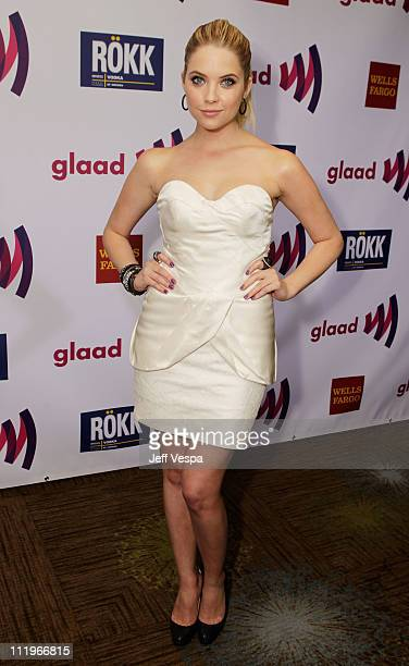 Actress Ashley Benson arrives at the 22nd Annual GLAAD Media Awards presented by ROKK Vodka at Los Angeles' Westin Bonaventure on April 10, 2011 in...