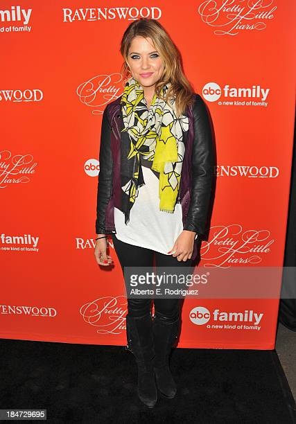 Actress Ashley Benson attends a screening of ABC Family's Pretty Little Liars Halloween episode at Hollywood Forever Cemetery on October 15 2013 in...