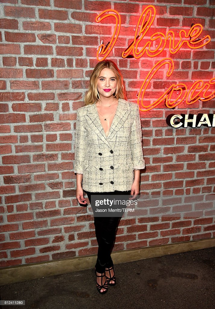 Actress Ashley Benson attends the I Love Coco Backstage Beauty Lounge at Chateau Marmont's Bar Marmont on February 25, 2016 in Hollywood, California.
