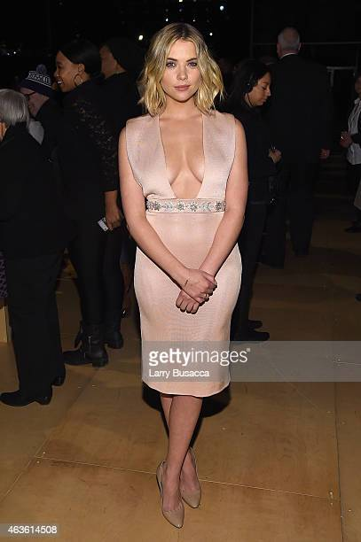 Actress Ashley Benson attends the Reem Acra fashion show during MercedesBenz Fashion Week Fall 2015 at The Salon at Lincoln Center on February 16...