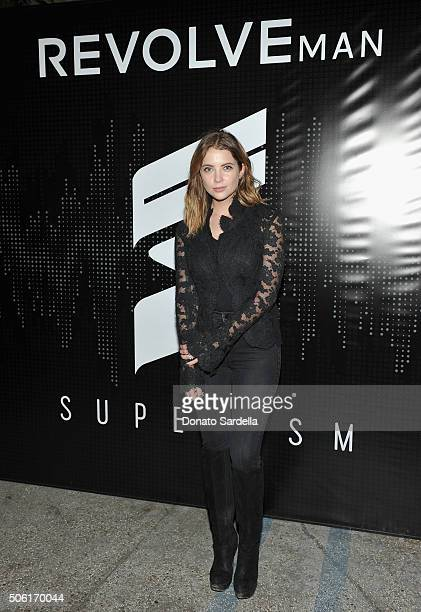 Actress Ashley Benson attends the REVOLVEman and Superism launch event at SmogShoppe on January 21 2016 in Los Angeles California
