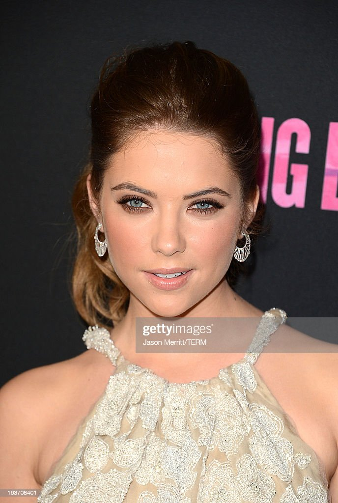 Actress Ashley Benson attends the 'Spring Breakers' premiere at ArcLight Cinemas on March 14, 2013 in Hollywood, California.