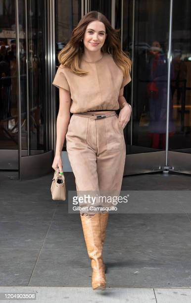 Actress Ashley Benson is seen arriving to the Longchamp Fall/Winter 2020 Runway Show at Hudson Commons on February 08, 2020 in New York City.