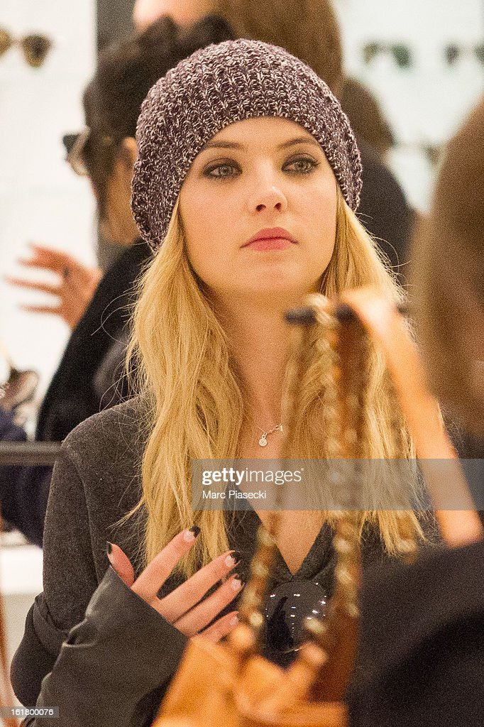 Actress Ashley Benson is seen at the 'Printemps' department store on February 16, 2013 in Paris, France.