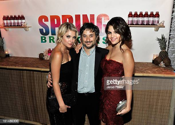 Actress Ashley Benson Writer/Director Harmony Korine and Actress Selena Gomez attend a dinner for the cast of 'Spring Breakers' hosted by...
