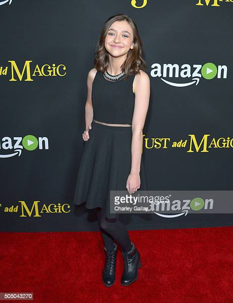 Actress Ashley Boettcher attends Amazon red carpet premiere screening at the Arclight Hollywood for original liveaction kids series Just Add Magic on...