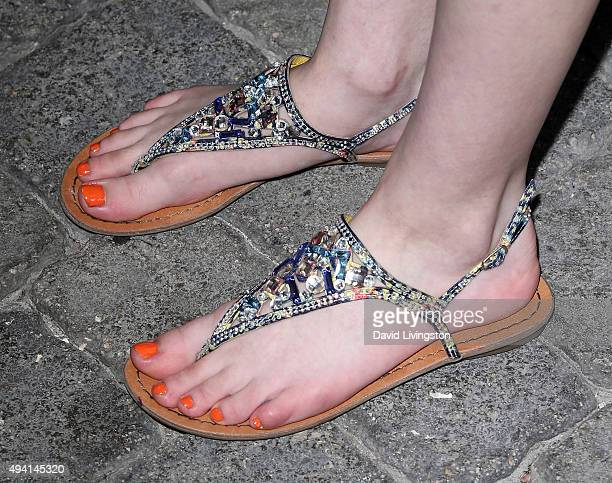 Actress Ashley Boettcher shoe detail attends the Just Jared Fall Fun Day at a private residence on October 24 2015 in Los Angeles California