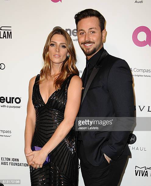 Actress Ashley Greene and Paul Khoury attend the 24th annual Elton John AIDS Foundation's Oscar viewing party on February 28 2016 in West Hollywood...