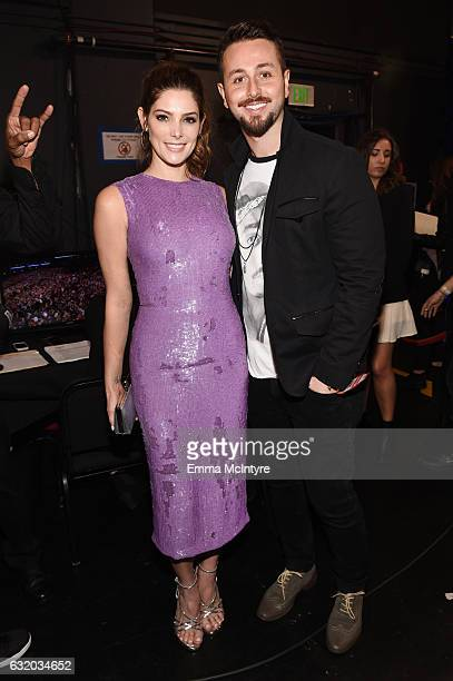 Actress Ashley Greene and Paul Khoury backstage at the People's Choice Awards 2017 at Microsoft Theater on January 18, 2017 in Los Angeles,...
