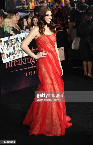 Actress Ashley Greene arrives at the Premiere of Summit Entertainment's The Twilight Saga Breaking Dawn Part 1 at Nokia Theatre LA Live on November...