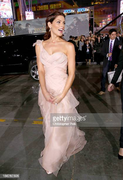 Actress Ashley Greene arrives at the premiere of Summit Entertainment's The Twilight Saga Breaking Dawn Part 2 at Nokia Theatre LA Live on November...