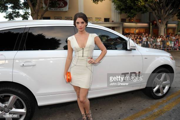 """Actress Ashley Greene arrives in an Audi to the premiere of """"Julie & Julia"""" at Mann Village Theatre on July 27, 2009 in Westwood, Los Angeles,..."""