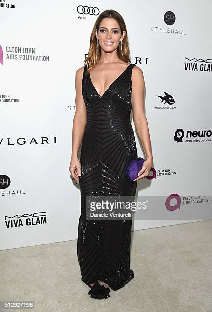 Actress Ashley Greene wearing Bulgari attends Bulgari at the 24th Annual Elton John AIDS Foundation's Oscar Viewing Party at The City of West...