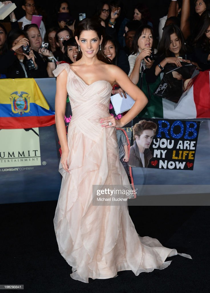 Actress Ashley Greene, wearing Donna Karan, arrives at the premiere of Summit Entertainment's 'The Twilight Saga: Breaking Dawn Part 2' at Nokia Theatre L.A. Live on November 12, 2012 in Los Angeles, California.
