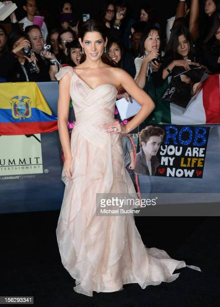 Actress Ashley Greene wearing Donna Karan arrives at the premiere of Summit Entertainment's The Twilight Saga Breaking Dawn Part 2 at Nokia Theatre...