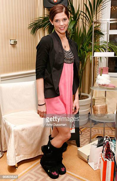 Actress Ashley Greene wearing mukluks from Sweet Pedtooties at the Oh Canada Gift Suite at Peninsula Hotel on January 15 2010 in Beverly Hills...