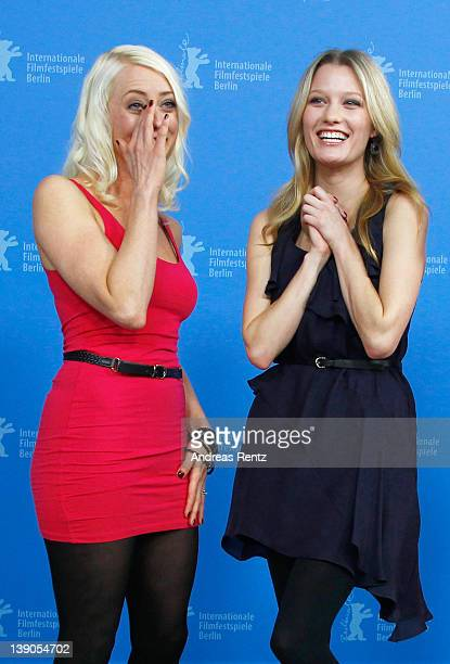 """Actress Ashley Hinshaw and actress and scriptwriter Lorelei Lee attend the """"Cherry"""" Photocall during day eight of the 62nd Berlin International Film..."""