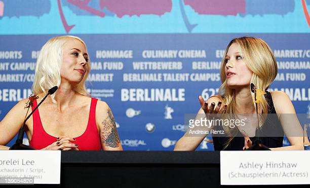 Actress Ashley Hinshaw and actress and scriptwriter Lorelei Lee attend the Cherry Press Conference during day eight of the 62nd Berlin International...