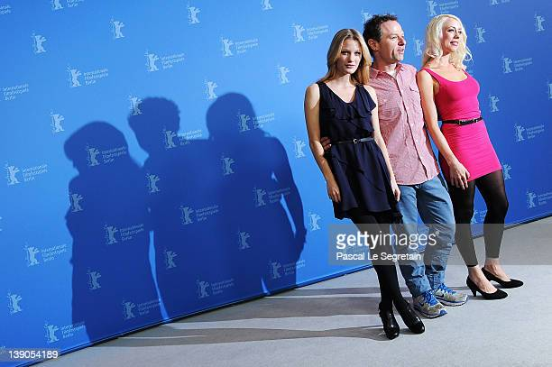 Actress Ashley Hinshaw and director Stephen Elliott and actress and scriptwriter Lorelei Lee attend the Cherry Photocall during day eight of the 62nd...