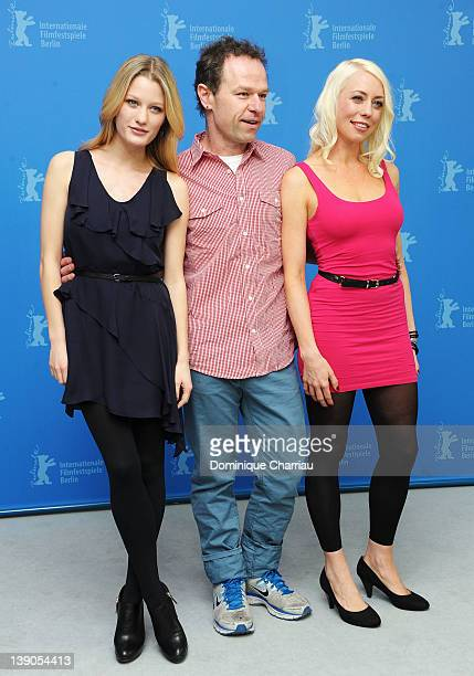 """Actress Ashley Hinshaw and director Stephen Elliott and actress and scriptwriter Lorelei Lee attend the """"Cherry"""" Photocall during day eight of the..."""