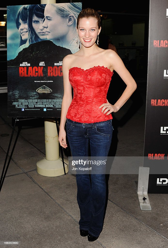 Actress Ashley Hinshaw arrives at the Los Angeles Premiere 'Black Rock' at ArcLight Hollywood on May 8, 2013 in Hollywood, California.
