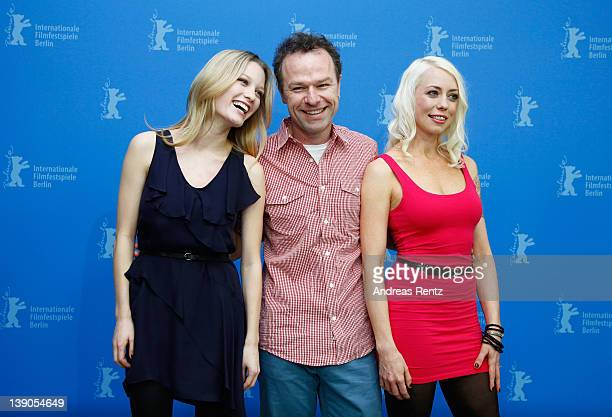 Actress Ashley Hinshaw director Stephen Elliott and actress and scriptwriter Lorelei Lee attend the Cherry Photocall during day eight of the 62nd...