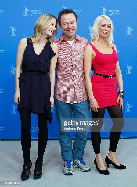 """Actress Ashley Hinshaw, director Stephen Elliott and actress and scriptwriter Lorelei Lee attend the """"Cherry"""" Photocall during day eight of the 62nd..."""