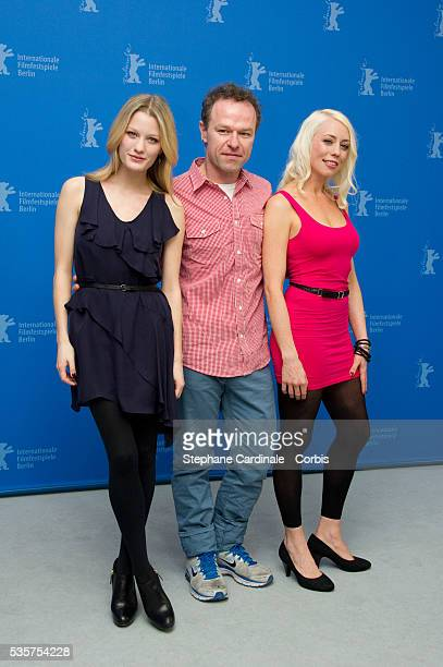 Actress Ashley Hinshaw director Stephen Elliott and actress and scriptwriter Lorelei Lee attend the Cherry Photocall during the 62nd Berlin...
