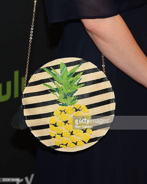 """Actress Ashley Johnson, bag detail, at PaleyLive NY: An Evening With The Cast & Creator Of """"Blindspot"""" at The Paley Center for Media on April 11,..."""
