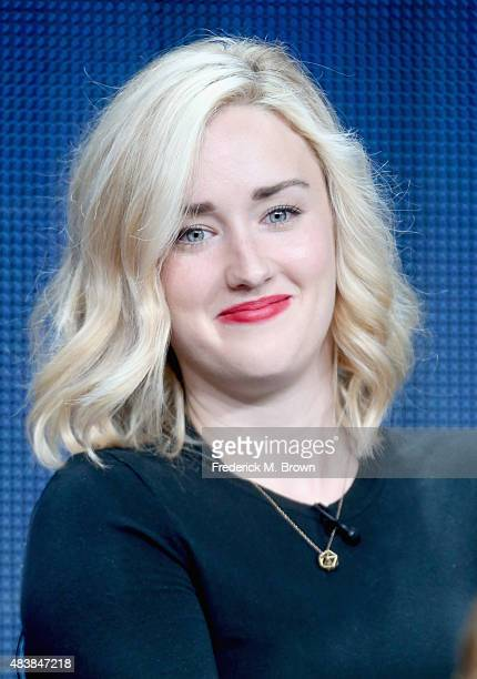 Actress Ashley Johnson speaks onstage during NBC's 'Blindspot' panel discussion at the NBCUniversal portion of the 2015 ser TCA Tour at The Beverly...