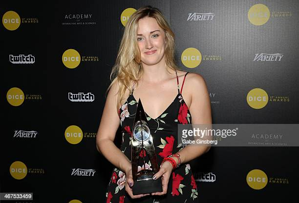 Actress Ashley Johnson winner of Outstanding Character Performance for her portrayal of the character Ellie in the video game The Last of Us poses in...