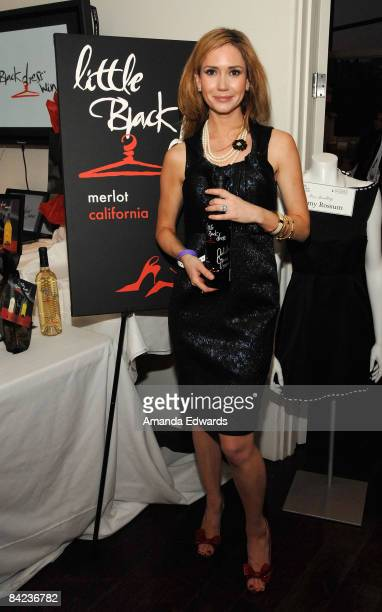 Actress Ashley Jones poses at Little Black Dress Wines at Kari Feinstein Golden Globes Style Lounge held at Zune LA on January 9, 2009 in Los...