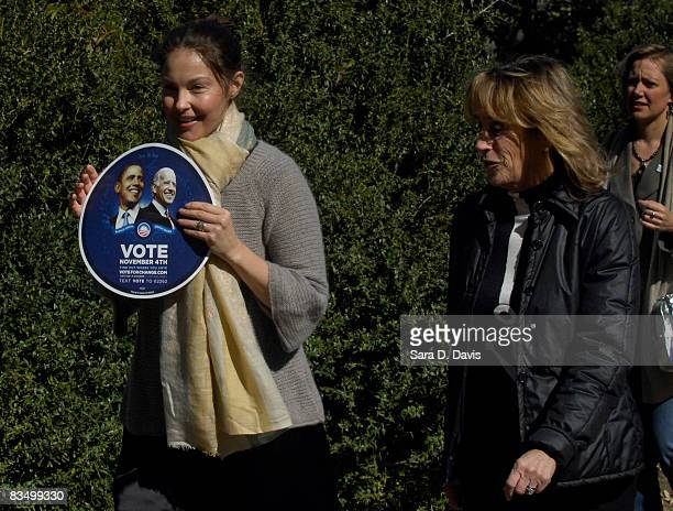 Actress Ashley Judd and Valerie Biden Owens sister of Democratic vice presidential candidate Joe Biden arrive at a campaign event for Democratic...