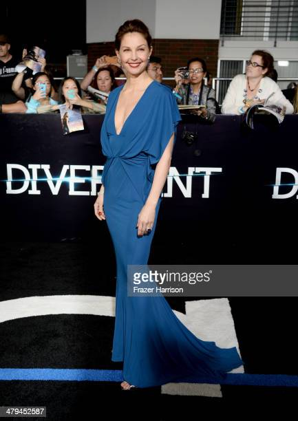 Actress Ashley Judd arrives at the premiere of Summit Entertainment's Divergent at the Regency Bruin Theatre on March 18 2014 in Los Angeles...