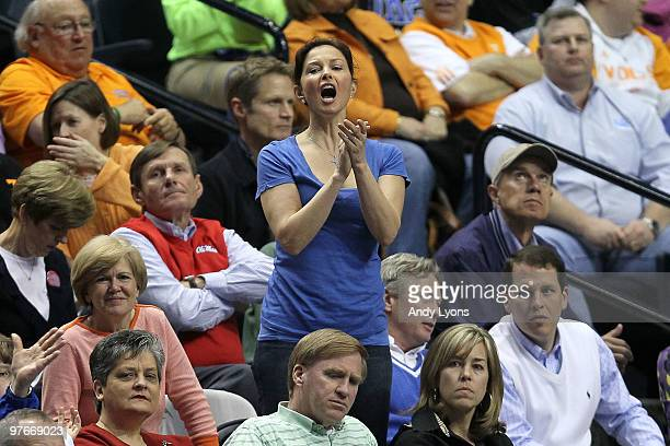 Actress Ashley Judd cheers for the Kentucky Wildcats against the Alabama Crimson Tide during the quarterfinals of the SEC Men's Basketball Tournament...