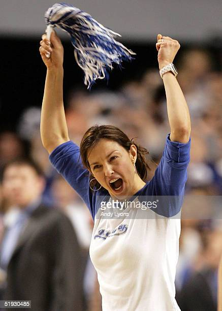 Actress Ashley Judd cheers on the Kentucky Wildcats during a game against the Kansas Jayhawks on January 9 2005 at Rupp Arena in Lexington Kentucky...