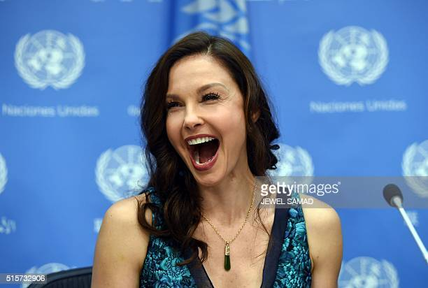 US actress Ashley Judd laughs during a press conference after being named as United Nations Population Funds Goodwill Ambassador on March 15 at the...