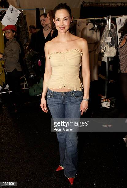 Actress Ashley Judd poses backstage at the Tuleh fashion show during Olympus Fashion Week February 8 2004 in New York City