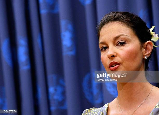 Actress Ashley Judd speaks at a press conference following a special thematic debate at the United Nations to focus global attention on Human...