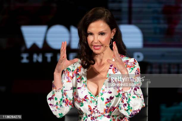 Actress Ashley Judd speaks during the Feminism A Battlefield Report session at the 10th Anniversary Women In The World Summit on April 11 2019 in New...