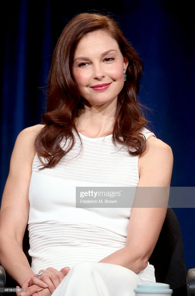 "Actress Ashley Judd speaks onstage during the 'INDEPENDENT LENS ""A Path Appears""' panel discussion at the PBS Network portion of the Television Critics Association press tour at Langham Hotel on January 20, 2015 in Pasadena, California."