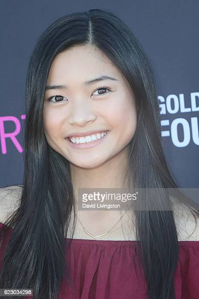 Actress Ashley Liao arrives at the PS ARTS' Express Yourself 2016 at Barker Hangar on November 13 2016 in Santa Monica California