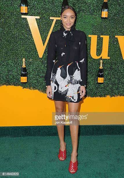 Actress Ashley Madekwe arrives at the 7th Annual Veuve Clicquot Polo Classic at Will Rogers State Historic Park on October 15 2016 in Pacific...