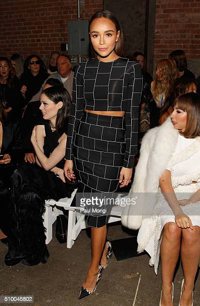 Actress Ashley Madekwe attends the Christian Siriano Fall 2016 fashion show during New York Fashion Week at ArtBeam on February 13 2016 in New York...