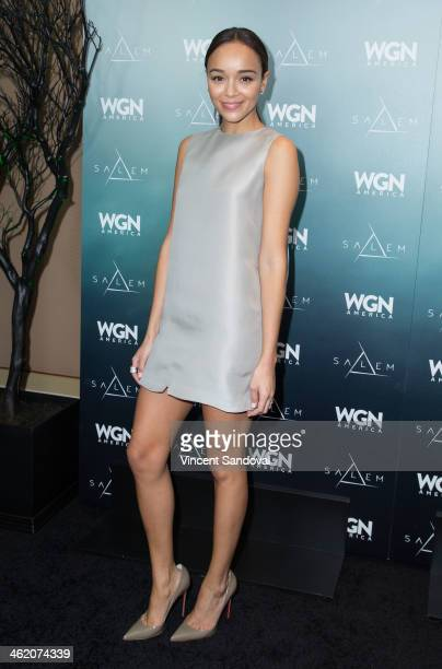 Actress Ashley Madekwe attends WGN America presents 'SALEM' at the 2014 Winter TCA's at The Langham Huntington Hotel and Spa on January 12 2014 in...