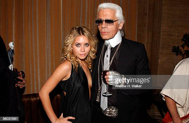 Actress Ashley Olsen and fashion designer Karl Lagerfeld pose for a photo durning the Fendi 80th Anniversary Party Hosted By Karl Lagerfeld on...