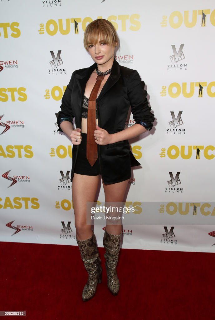 Actress Ashley Rickards attends the premiereof Swen Group's 'The Outcasts' at Landmark Regent on April 13, 2017 in Los Angeles, California.