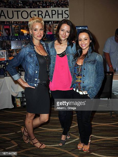 Actress Ashley Scott actress Amy Acker and actress Danielle Harris attend The Hollywood Show held at Westin LAX Hotel on April 20 2013 in Los Angeles...